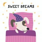 Fényképek kézzel rajzolt a skandináv stílusú, aranyos vicces kutya alszik a lefekvés, párna és takaró idézet édes álmok, gyermekek nyomtatási koncepció, vektor, ábra