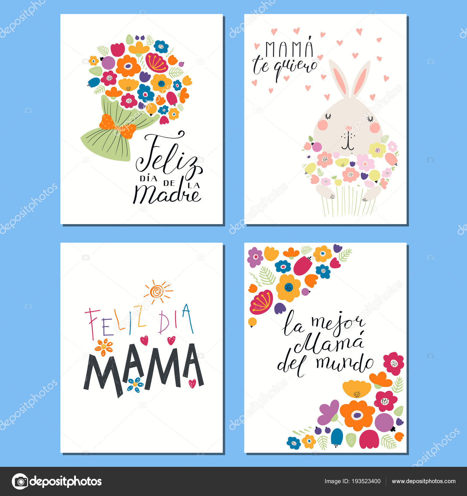 Set Mothers Day Cards Templates Hand Written Lettering Quotes