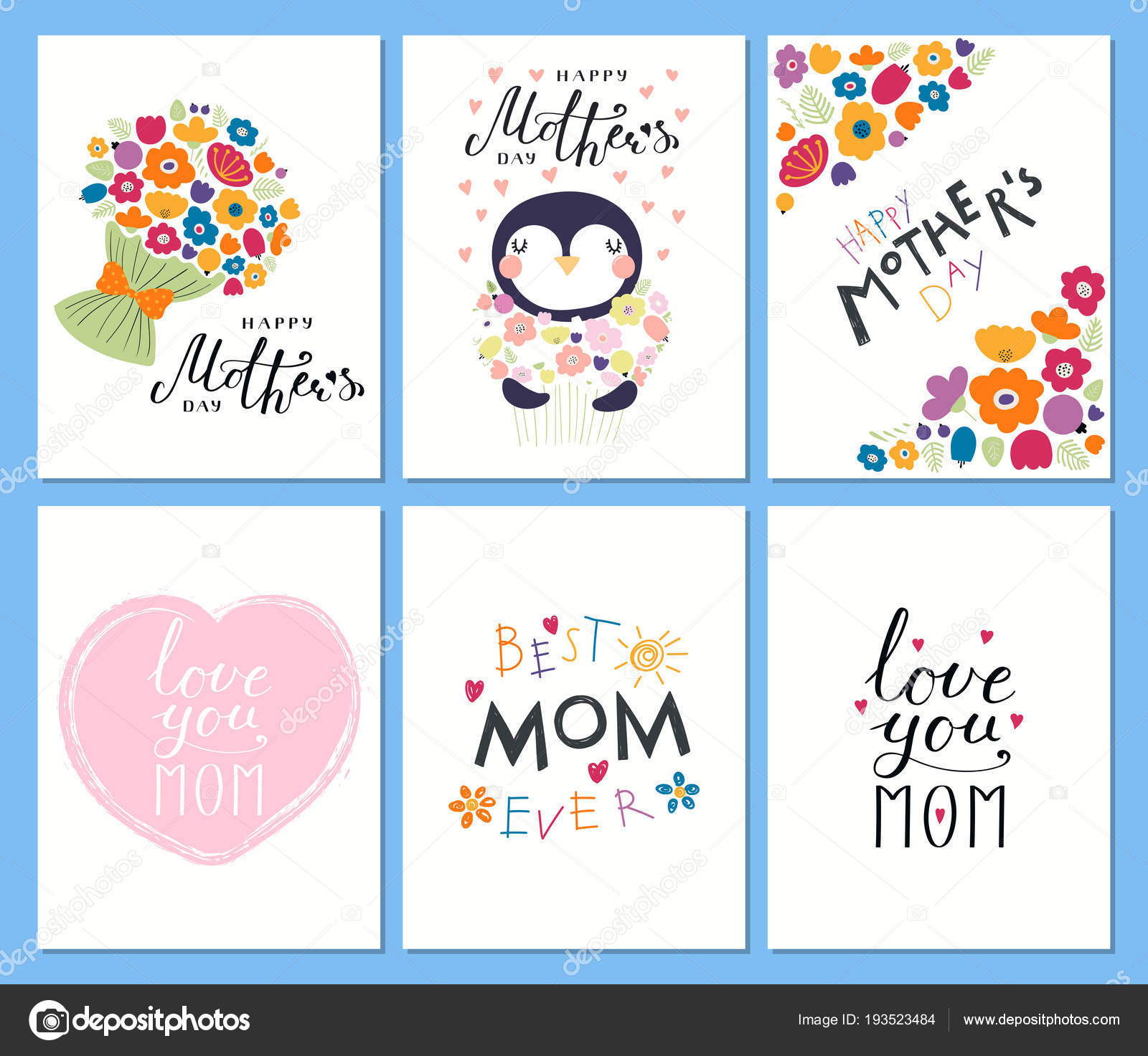 set mothers day cards templates hand written lettering quotes cute