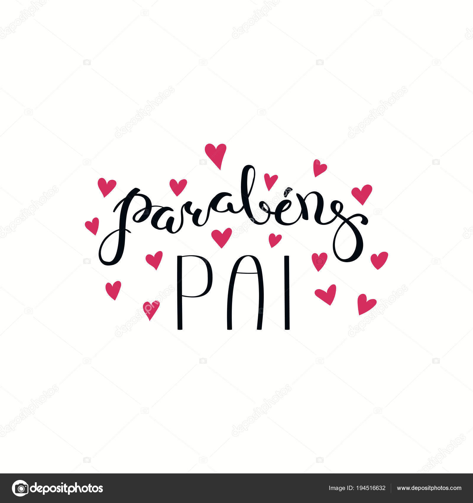 Hand Written Lettering Quote Congratulations Dad Portuguese Parabens Pai Hearts Stock Vector C Maria Skrigan 194516632