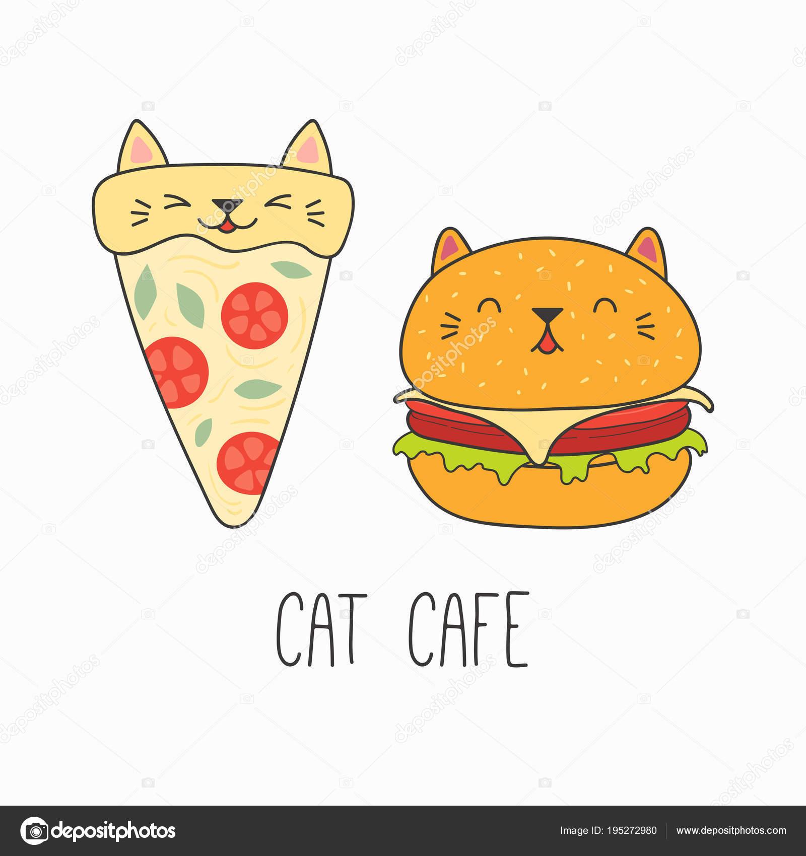 子供用プリントかわいい面白いピザのスライスと猫顔と耳 デザインの