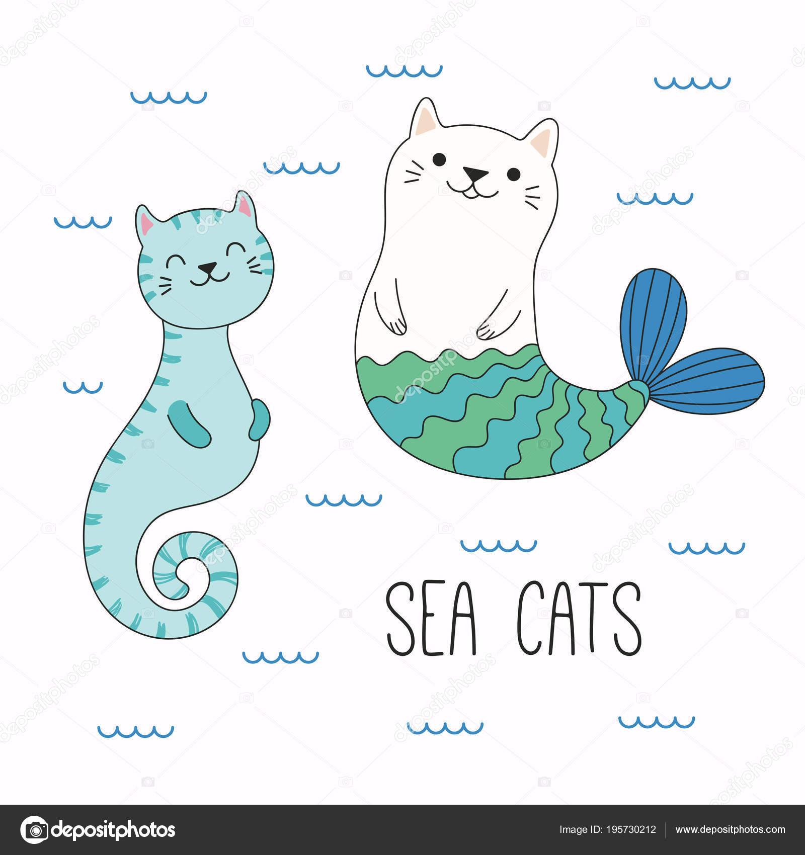 Hand Gezeichnet Vektor Illustration Von Kawaii Lustige Katze ...