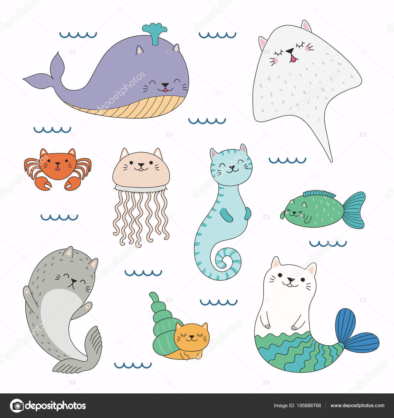 海で泳ぐ猫耳かわいい面白い海の動物の描かれたベクター イラストを手