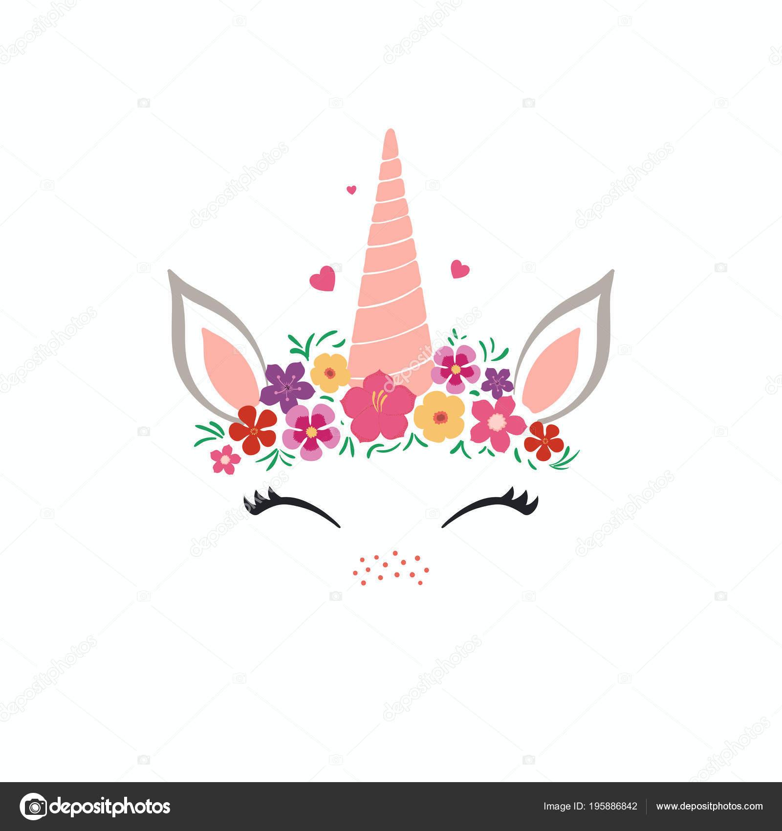 Pestanas Unicornio Para Imprimir Mano Ilustracion Vector Dibujado