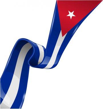 cuba ribbon flag on white background