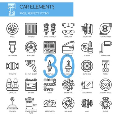 Car Elements , Thin Line and Pixel Perfect Icons