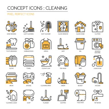 Cleaning thin line icons set