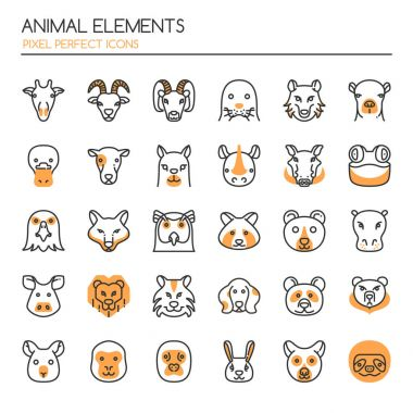 Animal Elements , Thin Line and Pixel Perfect Icons