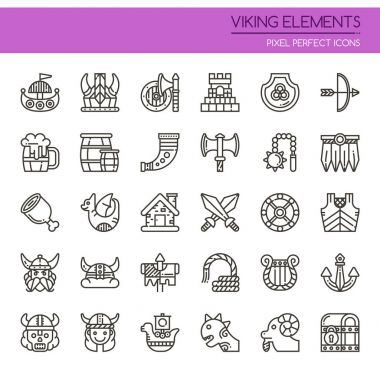 Viking Elements , Thin Line and Pixel Perfect Icon