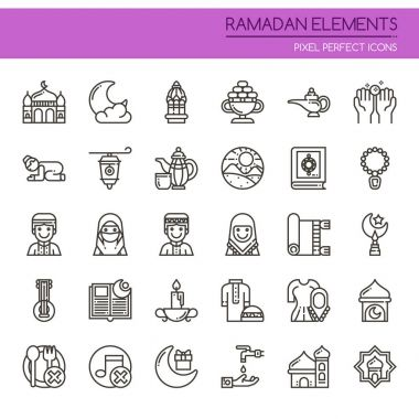 Ramadan Elements , Thin Line and Pixel Perfect Icon