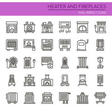 Heater and Fireplaces , Thin Line and Pixel Perfect Icon clip art vector