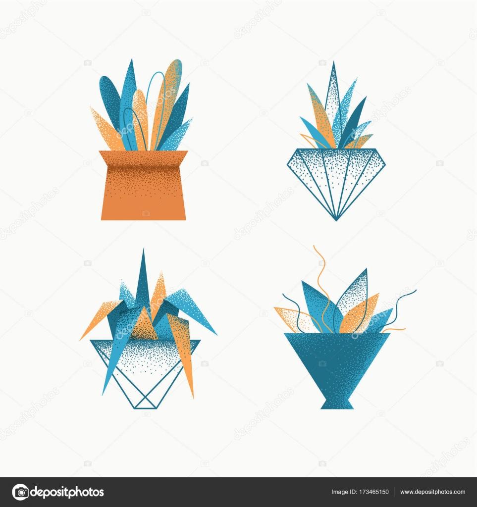 Geometrical grain textured modern vector icons' set — Stock