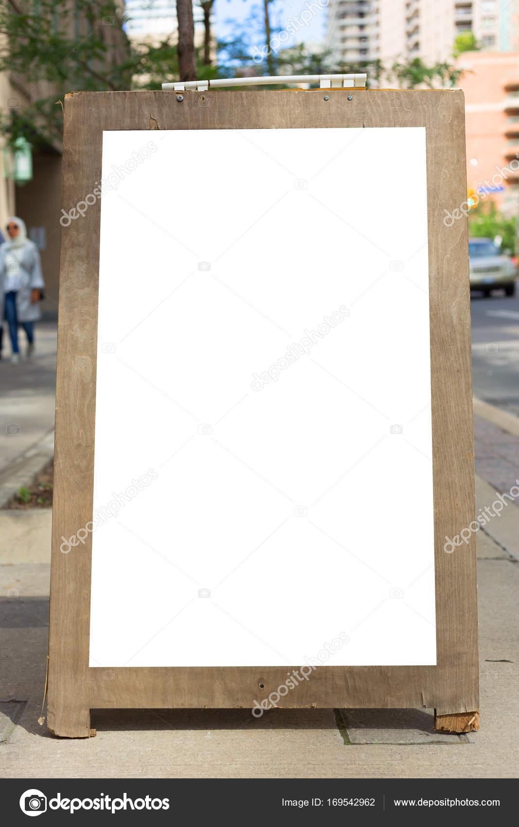 Blank Cafe Billboard Sidewalk Outdoor City Urban Restaurant Menu Stock Photo