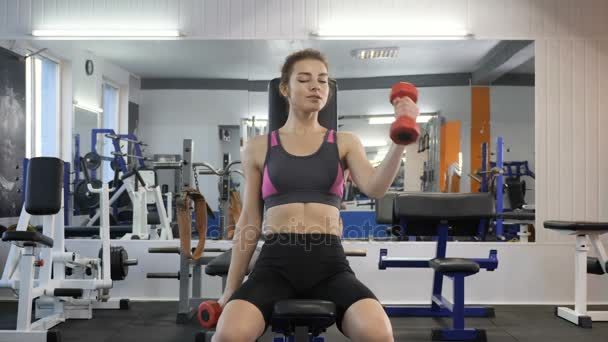 Sports young girl doing biceps exercise while sitting on sports bench in gym. Front view 60 fps