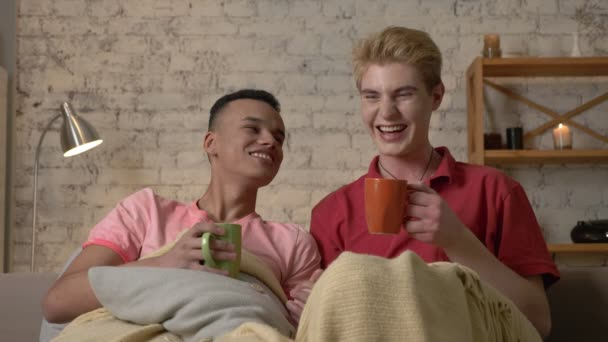 Multinational gay couple sitting on couch covered with a warm blanket, holding hands, drink tea, look at the camera, laughing. Homeliness, romantic evening, background, hugs, happy LGBT family concept