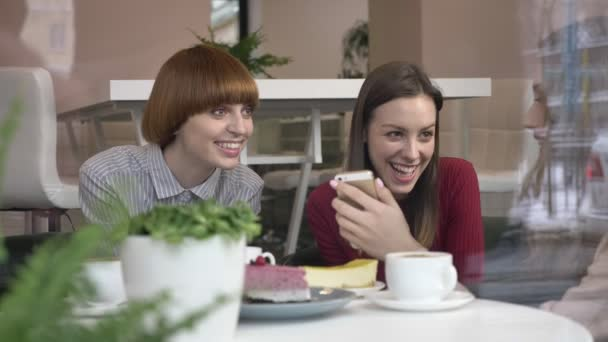 Three young caucasian girls are sitting in a cafe, laughing, smiling, friends, company, gossips, dialogue, discussion. Girlfriends in the cafe concept. Using a smartphone, watch a funny video, a photo