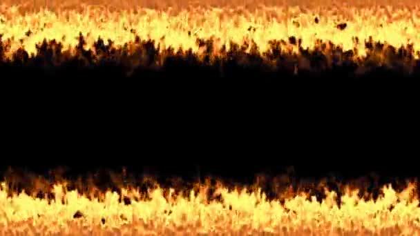 2 řádky plamenů izolované na černém pozadí