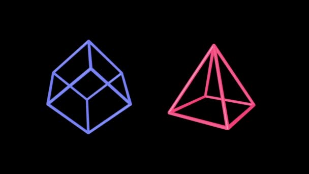 Cube and pyramid edges rotating