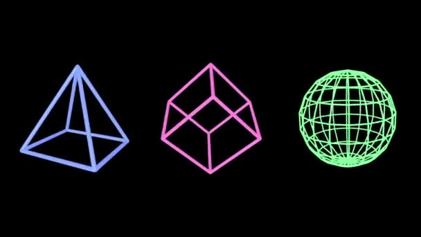 Pink pyramid, blue cube and green sphere edges