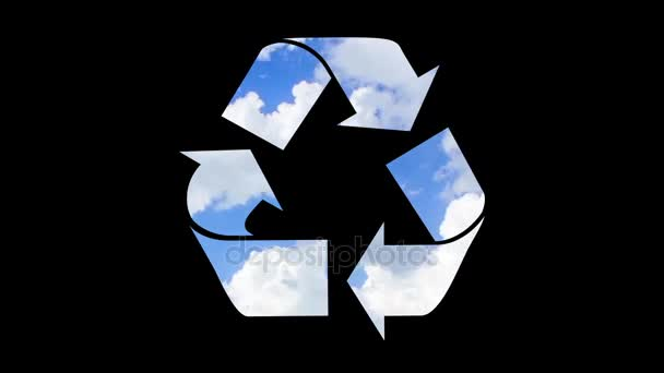 Recycling symbol animation isolated on black background
