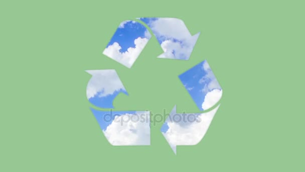 Recycling symbol  animation isolated on green background.