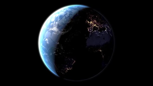 3D animation - Planet earth at night