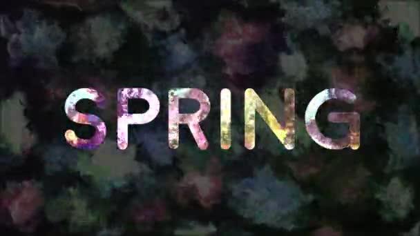 Barevný text Jaro s abstraktní květinovou texturou animace
