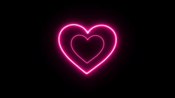 Pink neon heart loop animation on black background