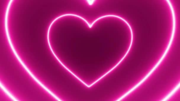 Soustředný neon srdce smyčka na černém pozadí