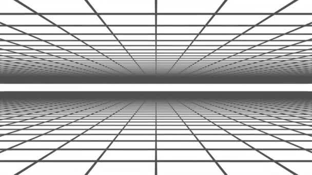 3D-Animation - abstrakter Hintergrund eines schwarzen Gitters auf einer weißen animierten Schleife