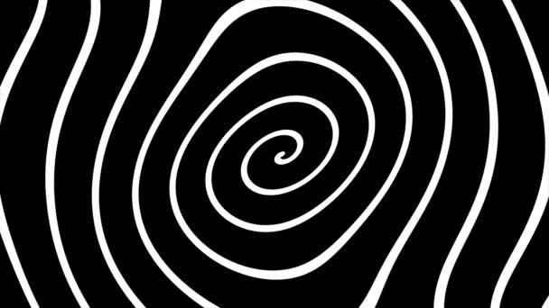 Schwarz-weiße deformierte Spiralschleifen-Animation