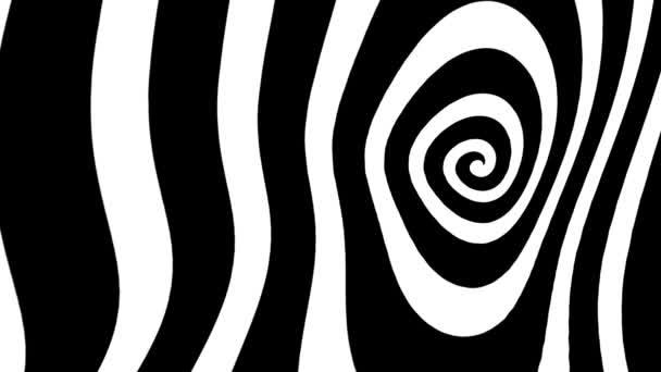 Fekete-fehér deformált spirálhurok animáció