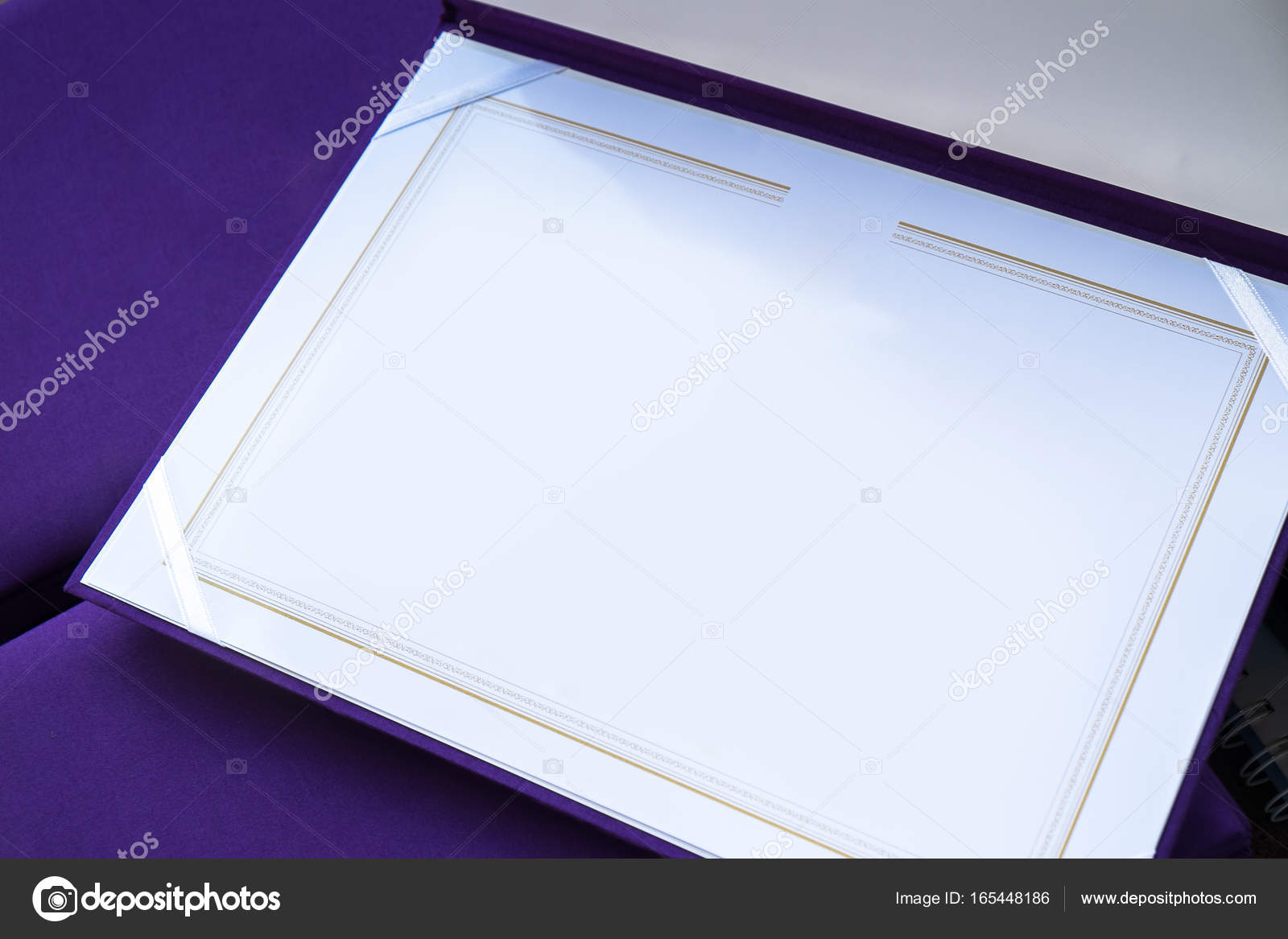 Blank Certificate Template With High Quality Purple Silk Cover