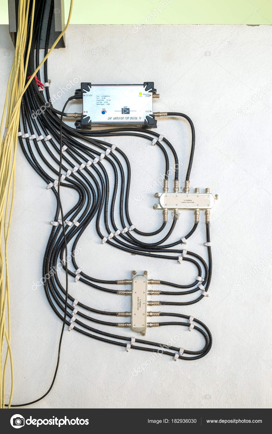 cable television system by wire with cable signal splitter in ap rh depositphotos com