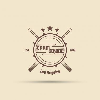 drum with crossed drumsticks vector isolated label badge emblem logo with text for your drum school