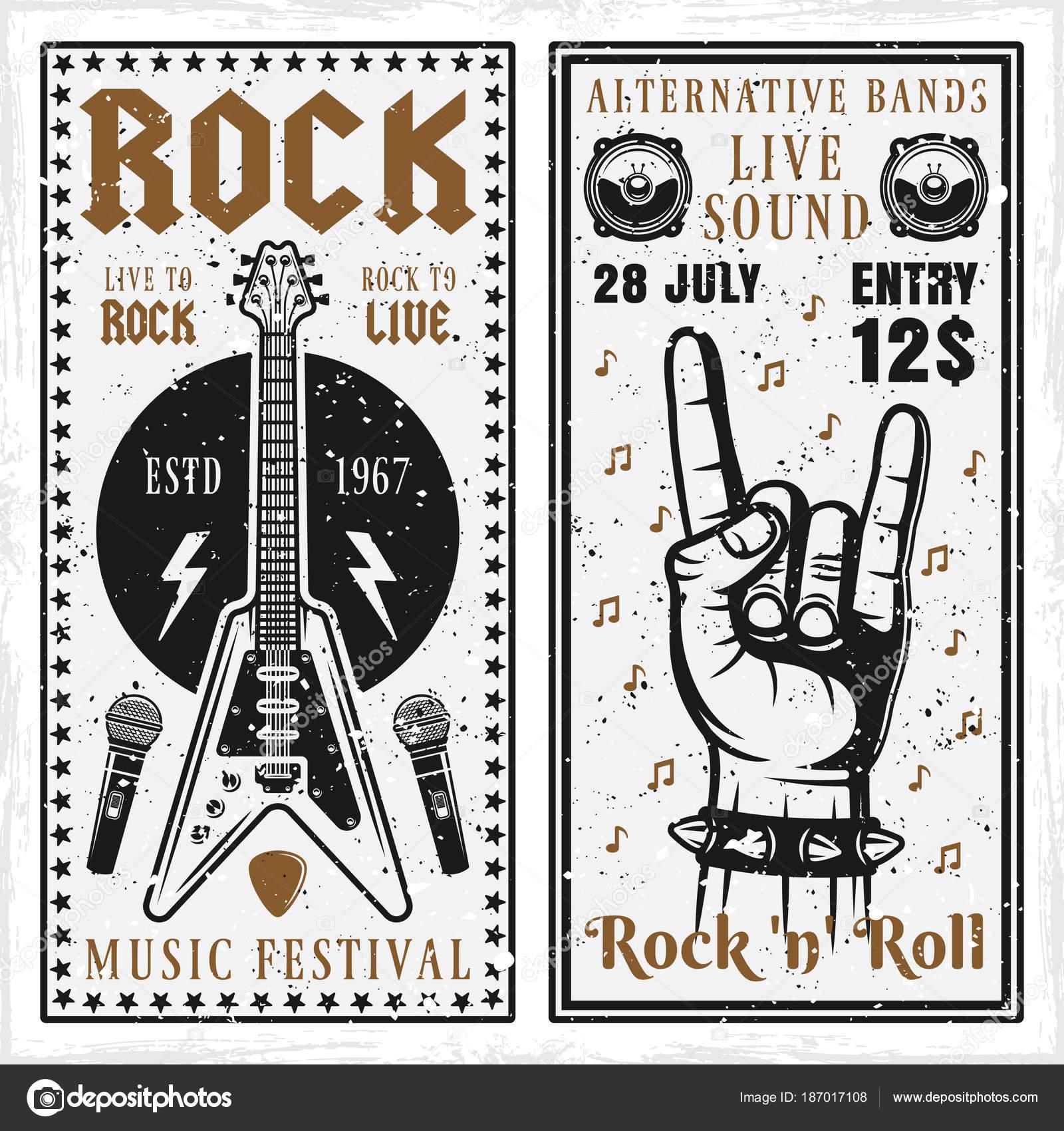 Rock Musik Festival zwei vertikale Banner oder Einladung Flyer ...