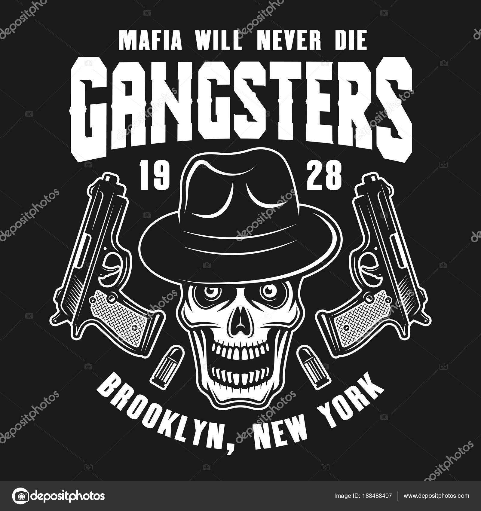 Mafia Vector Emblem Label Print Or Logo With Gangster Skull In Fedora Hat And Two Guns Isolated On Dark Background By Flat Enot