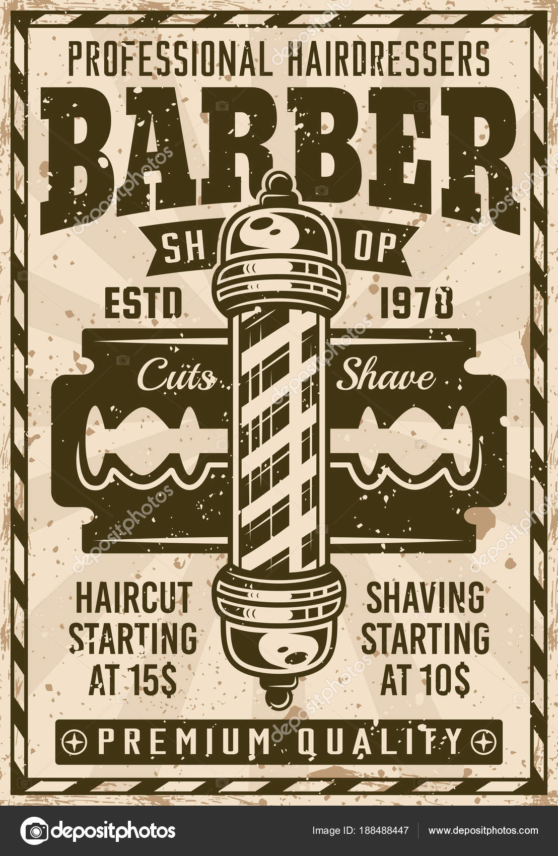 barber shop poster vintage con poste y hoja archivo im genes vectoriales flat enot 188488447. Black Bedroom Furniture Sets. Home Design Ideas