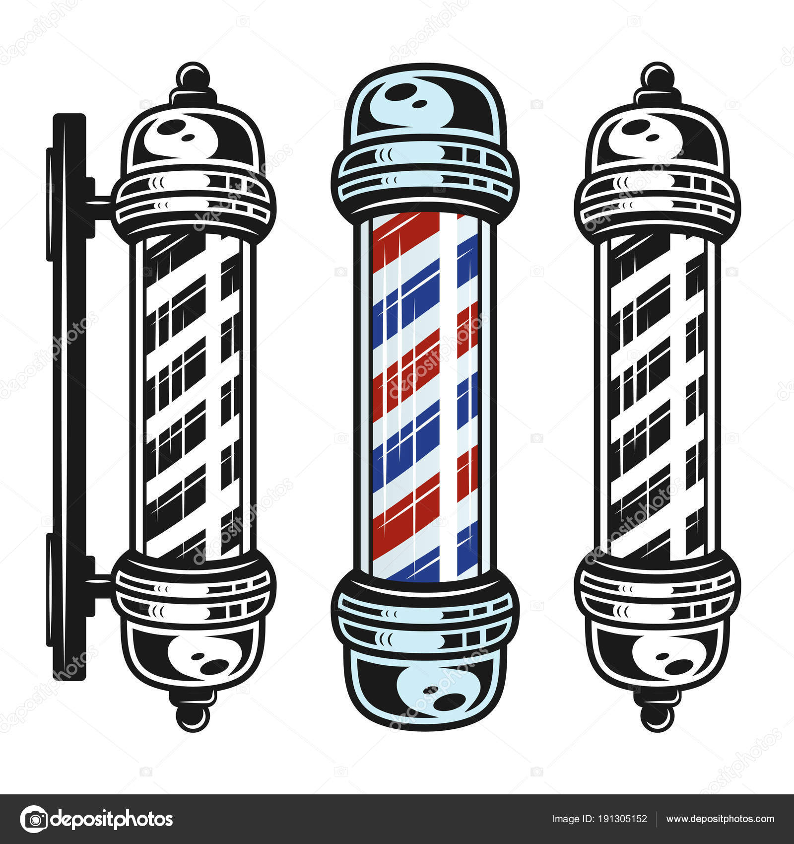 Barbershop Pole Set Of Three Style Objects In Vintage Monochrome Isolated On White Background Vector Illustration By Flat Enot