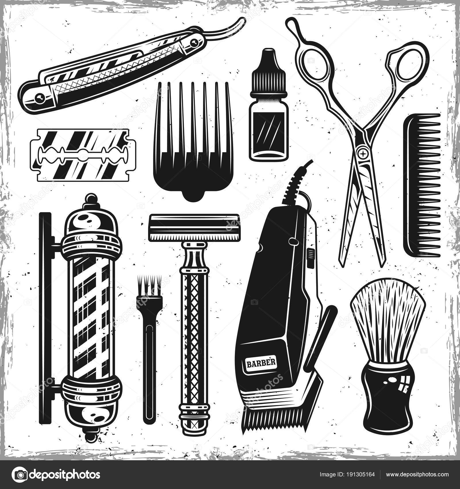 Hairdressers Tools And Barbershop Vintage Elements Stock Vector