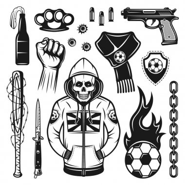 Soccer hooligans attributes set of vector objects