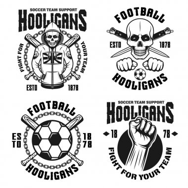 Soccer hooligans set of four vector emblems