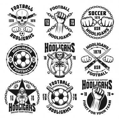 Football or soccer hooligans and bandits emblems