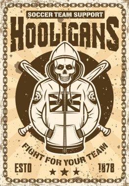 Football hooligan poster with skull in hoodie