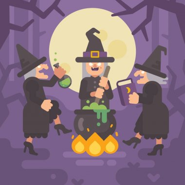 Three wicked old witches brewing a potion. Three evil sisters dancing around the fire and cauldron in a dark forest at night