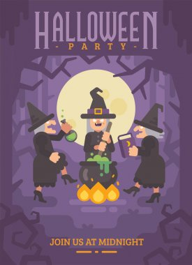 Halloween poster with three wicked old witches brewing a potion.