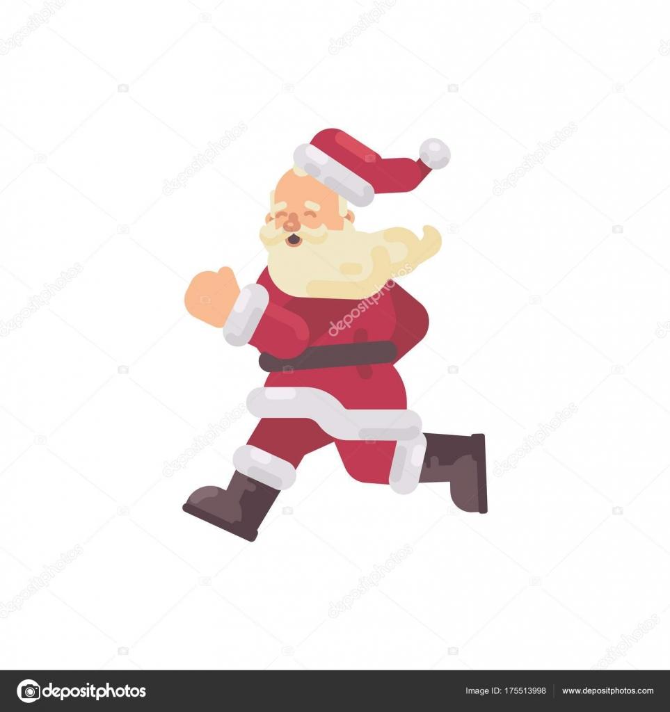 Glücklich Weihnachtsmann läuft flach Weihnachten Charakter Abbildung ...