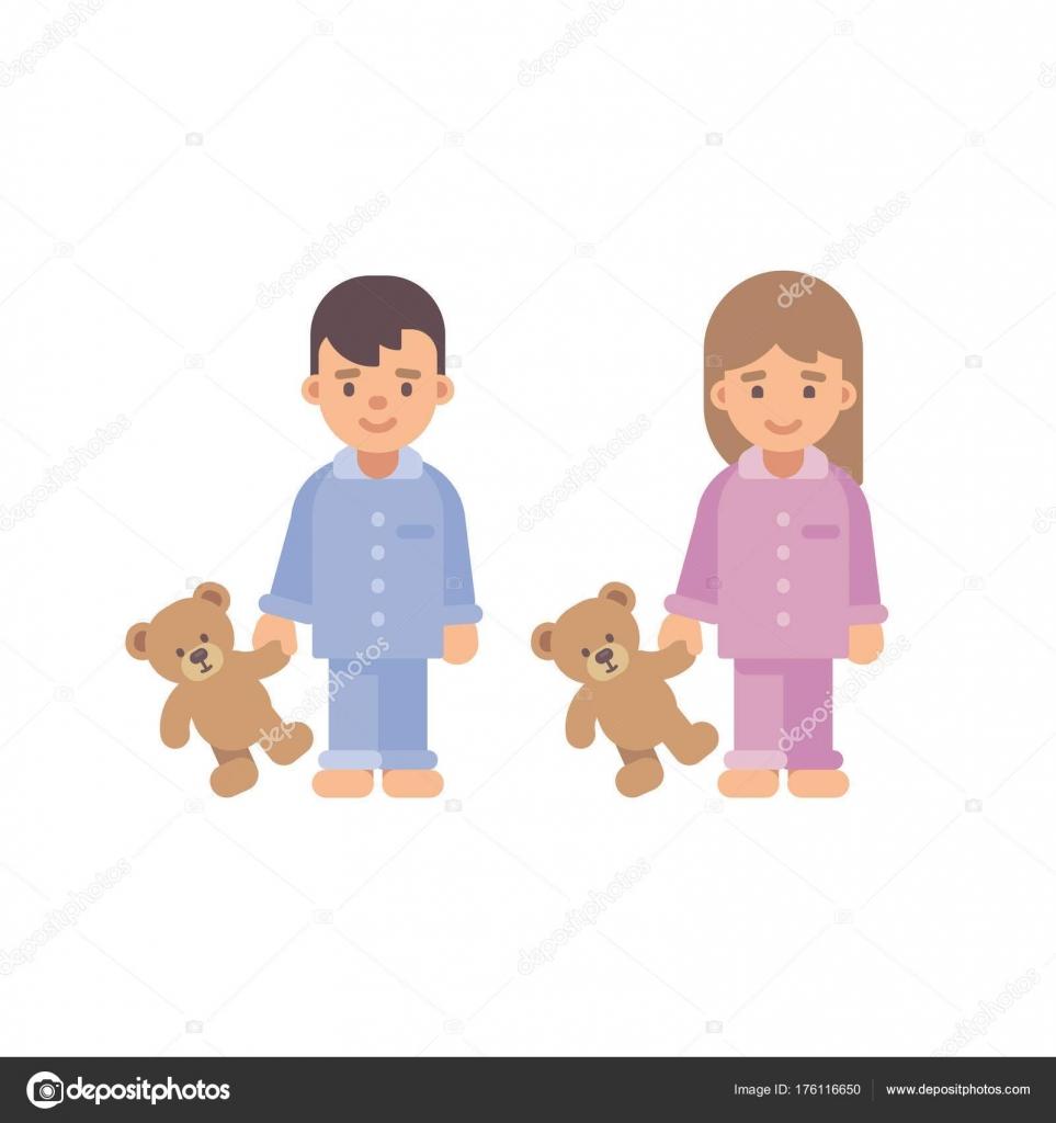 349407586b Dos lindos niños en pijama con ositos de peluche. Niño y niña ilustración  plana — Vector de ...
