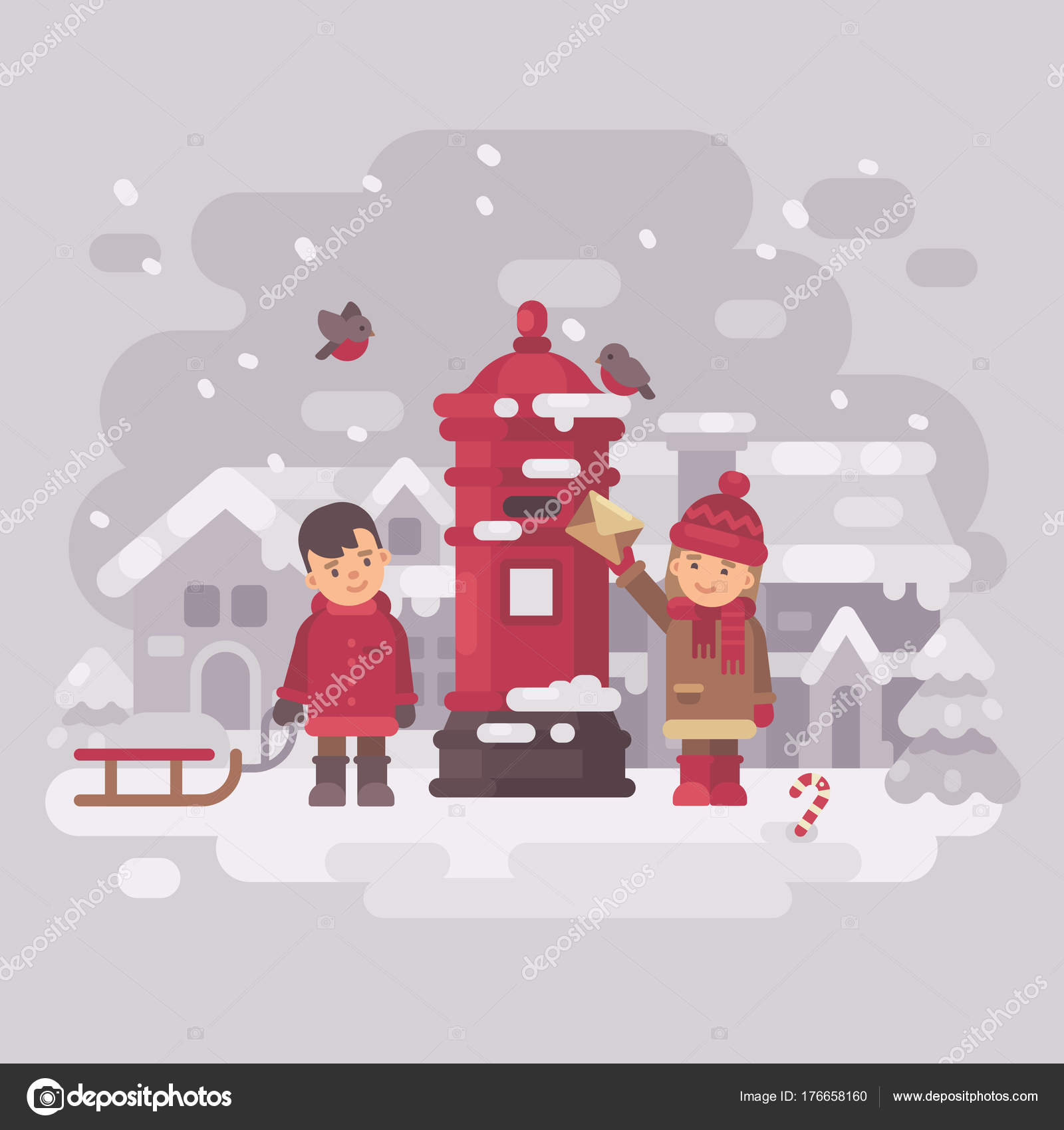 Two Cute Little Children Sending A Letter To Santa Claus Smiling