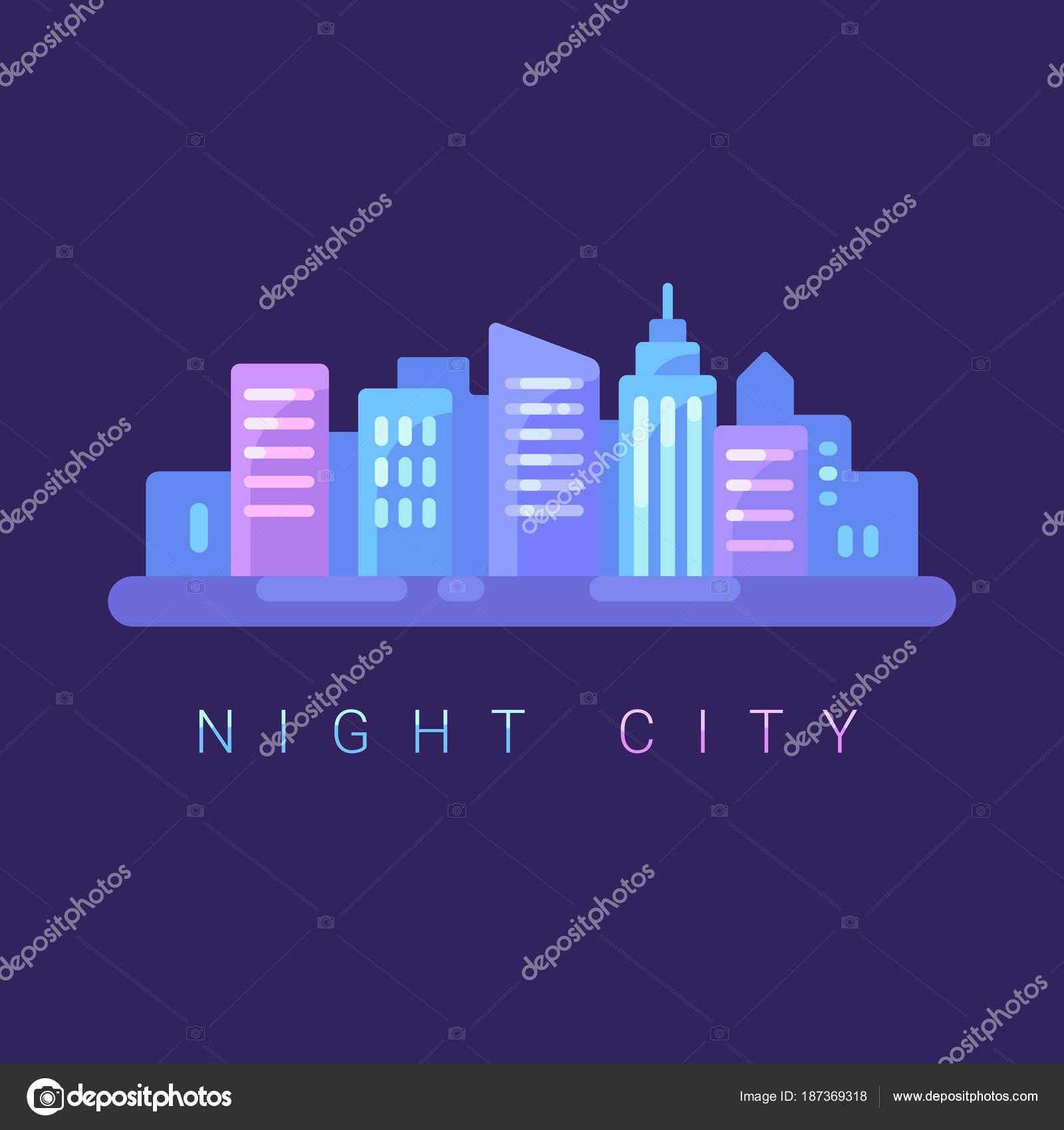 夜都市景観フラット イラスト背景 テキストをネオン街バナー ストック